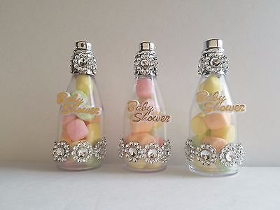 Silver Baby Shower Decorations (12 Silver Fillable Champagne Bottles Baby Shower Favors It's a Girl)