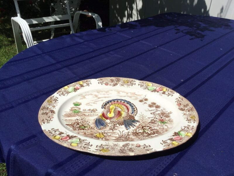 """VINTAGE THANKSGIVING 18"""" PLATTER CHIPPED MADE IN JAPAN COLORFUL TRANSFERWARE"""