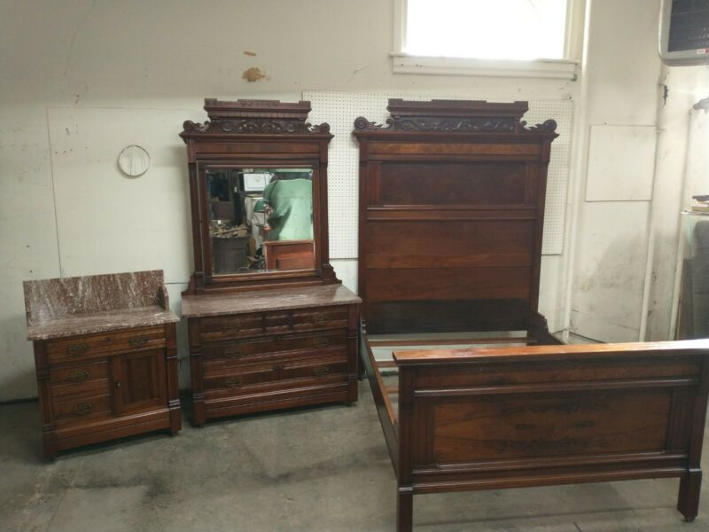 VICTORIAN WALNUT 3 PIECE MARBLE TOP BEDROOM SET Original Finish and Hardware