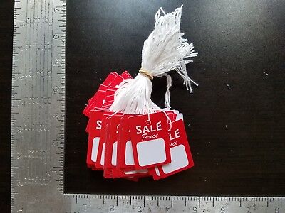 100 Red White Sale Price Tags W String Merchandise Hang Coupon Small Strung