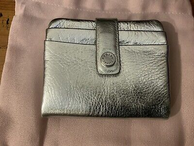NWT.Radley' Coleman Street' Small Silver Leather Wallet Purse