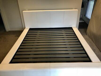 King size bed frame (white)