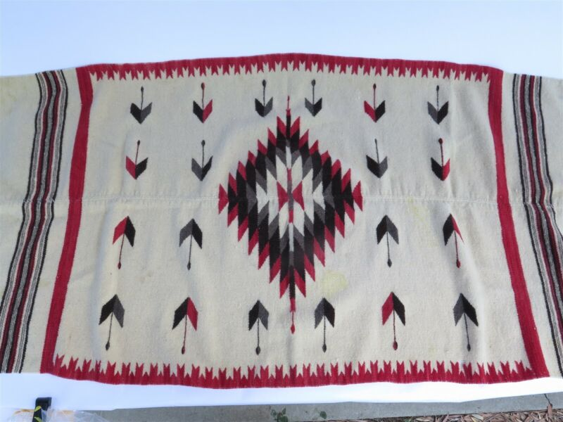 "Vintage Handwoven Chimayo Wool Blanket w. Centerfold & Designs 64"" L x 31"" W"