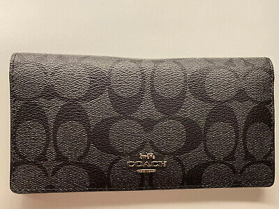 NWT Coach Women Bifold Slim Wallet Signature PVC Leather Black Retail $98