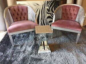Pair of silver pink accent chairs
