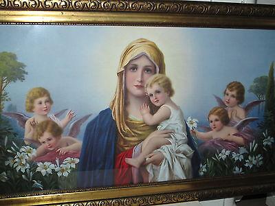 Antik Heiligenbild Schlafzimmerbild Maria, Jesus + Schutzengeln Shabby Engel alt