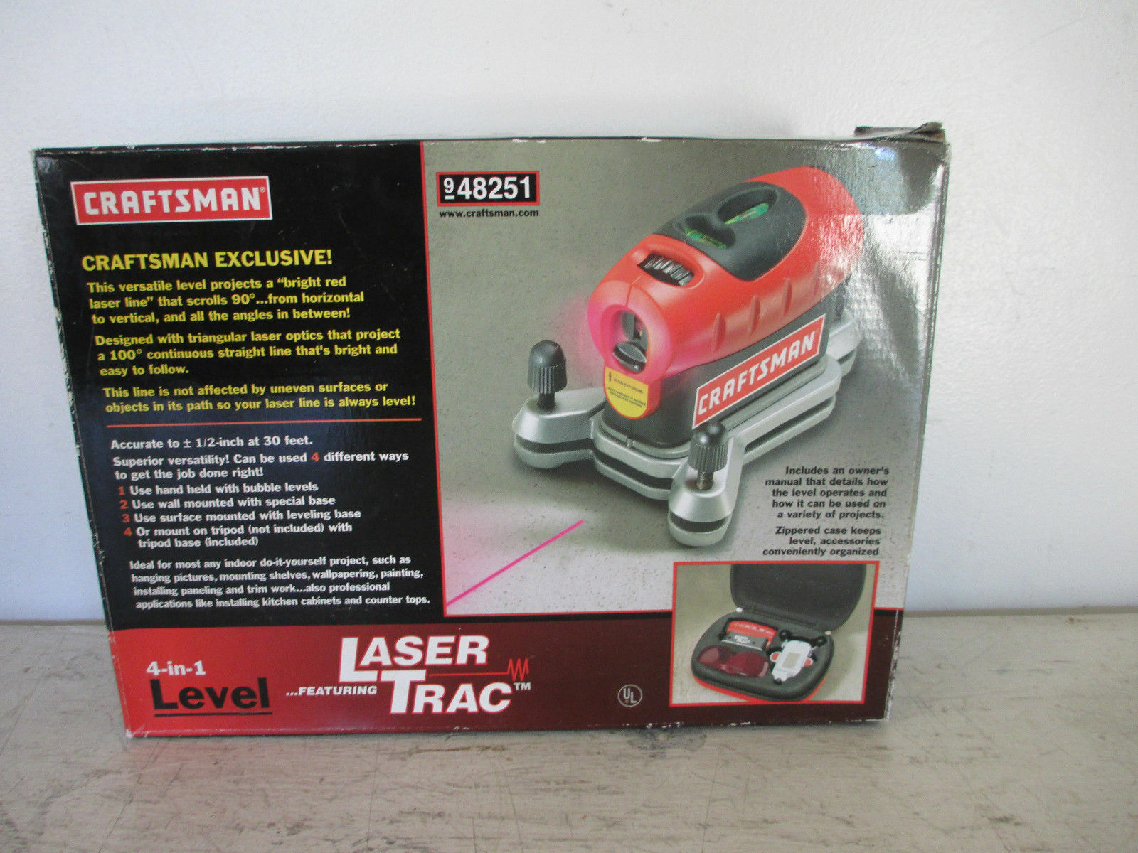 craftsman 4 in 1 laser trac level with carrying case 948251 ebay rh ebay com Craftsman Digital Level Craftsman 360 Degree Level System