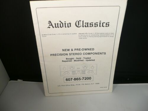 1988 Audio Classics NY McIntosh Catalog Original