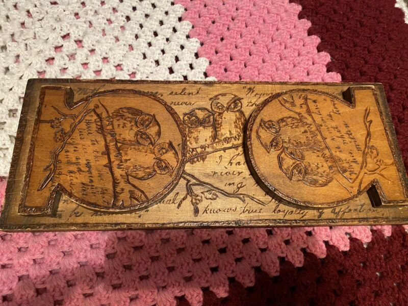 Antique  pyrography Folding Book Ends Owls 🦉 In Trees And Writings