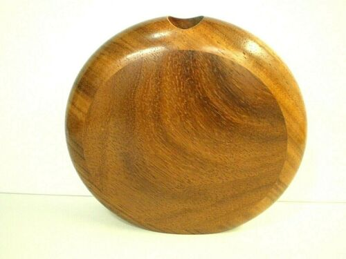 "WARREN VIENNEAU Walnut / Mahogany Wood? 7-3/8"" Tall HAND TURNED VASE Signed 1987"