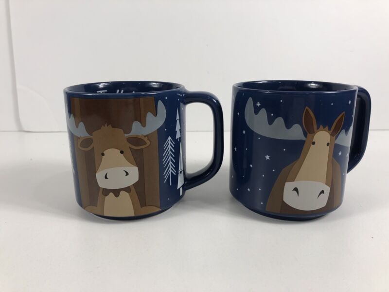TIM HORTONS 2019 Edition Coffee Mug Set Of 2 Stackable Moose Blue Cup