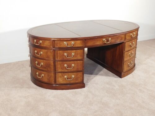 BAKER Furniture Company OVAL 3-Piece Leather Top Mahogany Partner