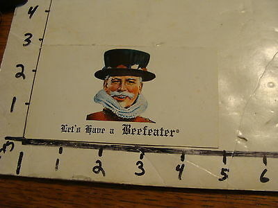 "VINTAGE ""LET'S HAVE A BEEFEATER"" GIN ADVERTISING CARD"