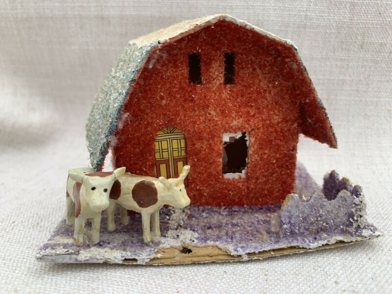 Antique Small Japan Putz Christmas Barn with Cows