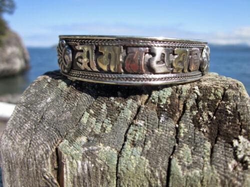 "HEALING COPPER BASE UNISEX TIBETAN BUDDHIST OM MANTRA CUFF BRACELET 5/8"" NEPAL"