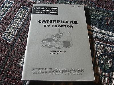 Vintage Caterpillar Operation Maintenance D9 Catalog Manual Original