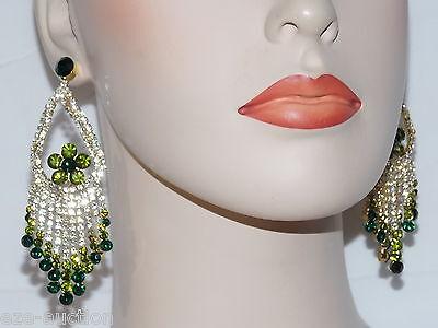 Emerald Green Chandelier - Emerald Green Royalty W.Clear Rhinestone Chandelier Gold Earrings