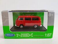 VW Bus 1970 Bulli T2 rot Modellauto Spritzguss 1:37 mit Schiebetür WELLY