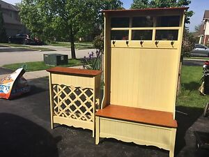 Hall tree cabinet and wine rack