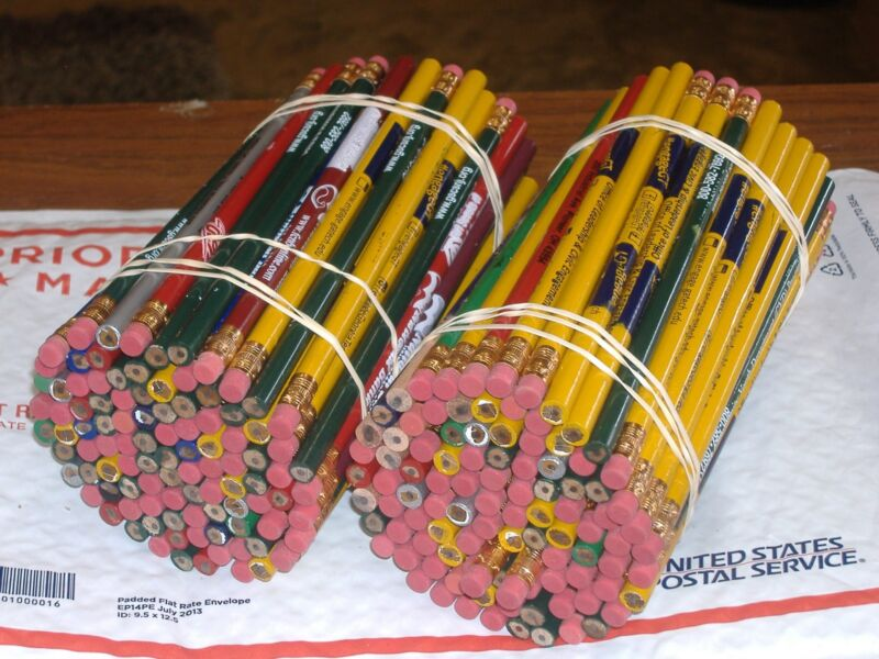 200 WOOD PENCILS with erasers overruns assorted logos lot school no. 2 lead