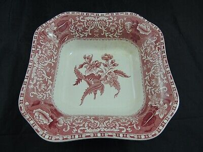 Spode Camilla Pink/Red Square Serving Bowl 9.25