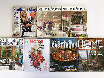 LOT of 7 SOUTHERN Accents Living Carolina Home Southern Cast Iron MAGAZINES