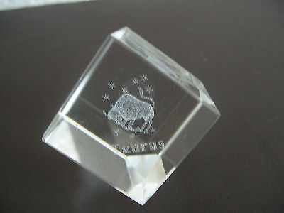TAURUS STAR SIGN LASER CRYSTAL CUBE