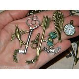 NEW 10/ps Industrial chic/ Tim Holtz inspired Jewelry making Charms LOT (pf8)