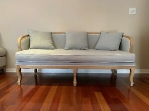 Beautiful French Louis XV Teal Linen Sofa Couch L@@K