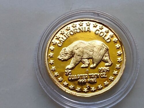1984 USA 1/4 oz GOLD GREAT SEAL OF CALIFORNIA GOLD GRIZZLY BEAR PROOF - 1ST YEAR