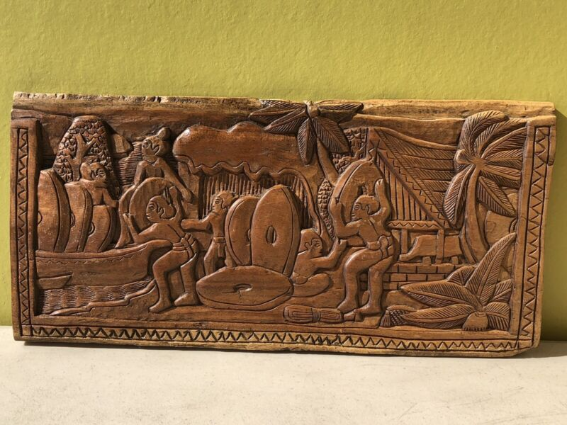 """Carved Wood Storyboard Plaque. Traditional Village Scene. 17"""" Long. Dated 1999"""