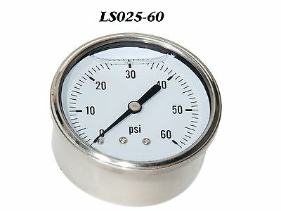New Hydraulic Liquid Filled Pressure Gauge 0-60 PSI 1/4