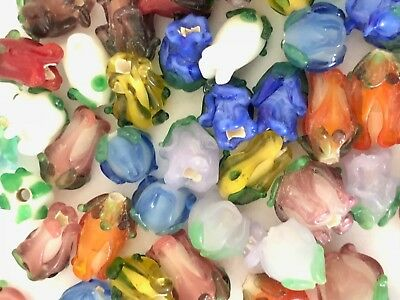 (NEW 20 Pieces Mixed Colors Assorted Lampwork Glass Rose Beads WHOLESALE Bulk Lot)