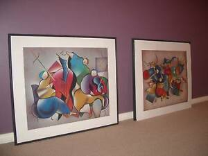 """Set of 2 Vibrantly coloured """"SUMO BAND"""" paintings Adelaide CBD Adelaide City Preview"""