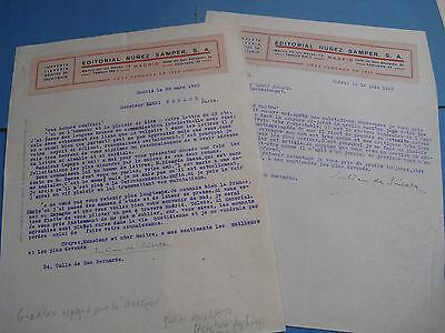 JULIAN DE SASETA Autographe Signé 1923 TRADUCTEUR ESPAGNE MADRID Fonds BERAUD