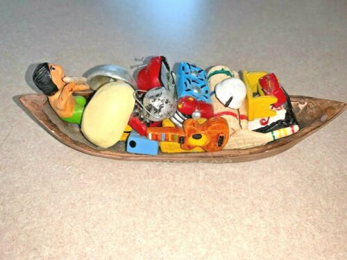 Cartagena Colombia Folk Art Clay Boat with Man Hand Crafted Pottery