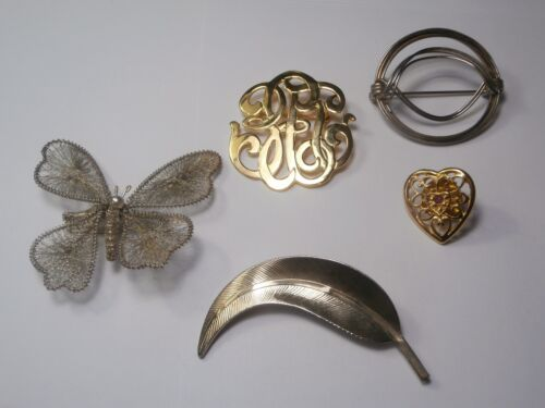vintage brooch pin lot 5 gold and silver tone butterfly leaf art deco heart