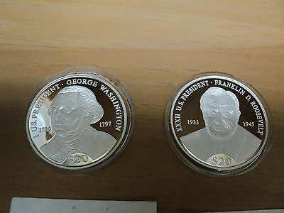Two American Mint  $20 Silver Coins Franklin Roosevelt  and George Washington