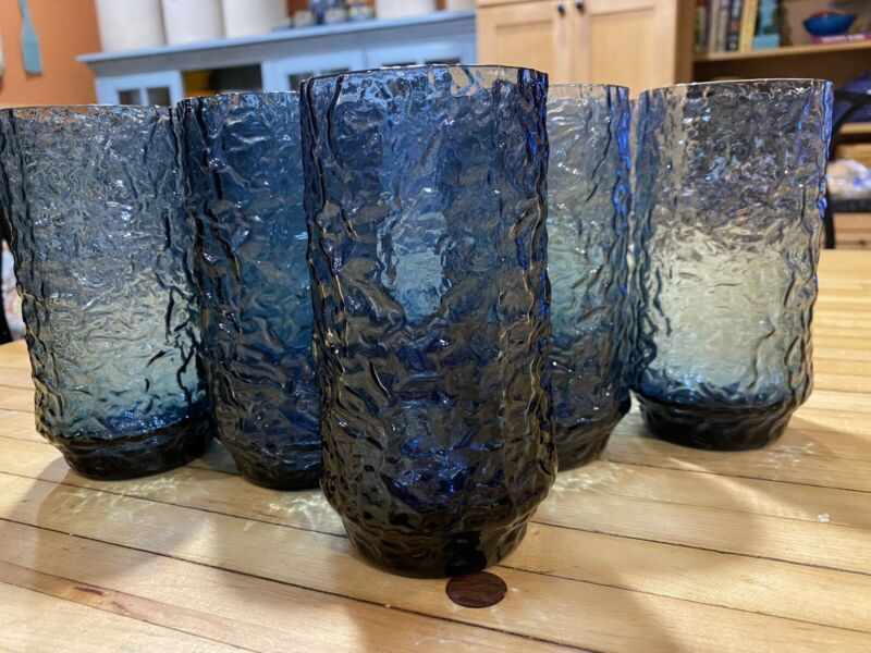 Set Of 8 Vintage Lenox Impromptu Hand Blown Dark Blue Iced Tea Drinking Glasses