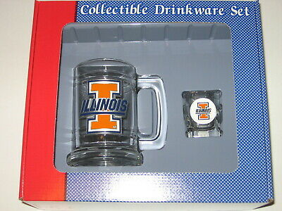 (Illinois Fighting Illini Glass Tankard Mug & Shot Glass Boilermaker Set)
