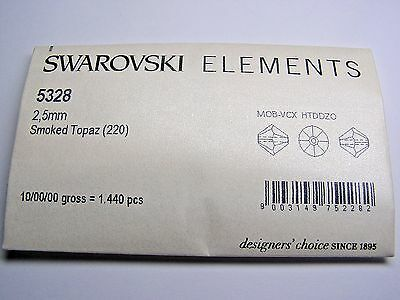 SWAROVSKI CRYSTAL BEADS #5328 2.5mm BICONE- SMOKED TOPAZ - 1,440 Pieces/Pack 2.5 Mm Bicone Beads