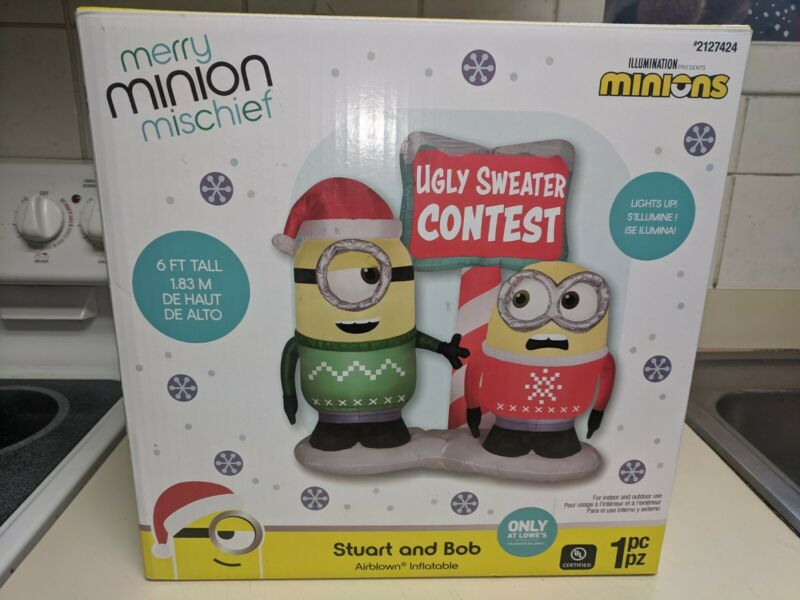 6 Ft Minion Ugly Sweater Contest Gemmy Airblown Christmas Inflatable nib