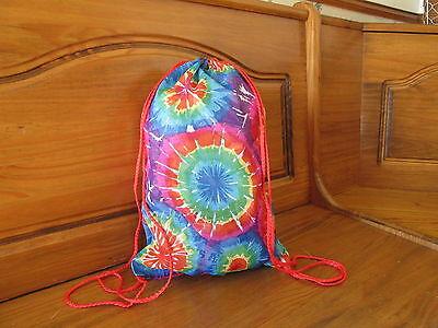 12 Cotton TIE-DYED DRAWSTRING BAGS multi bulk FREE SHIP tie dye bags