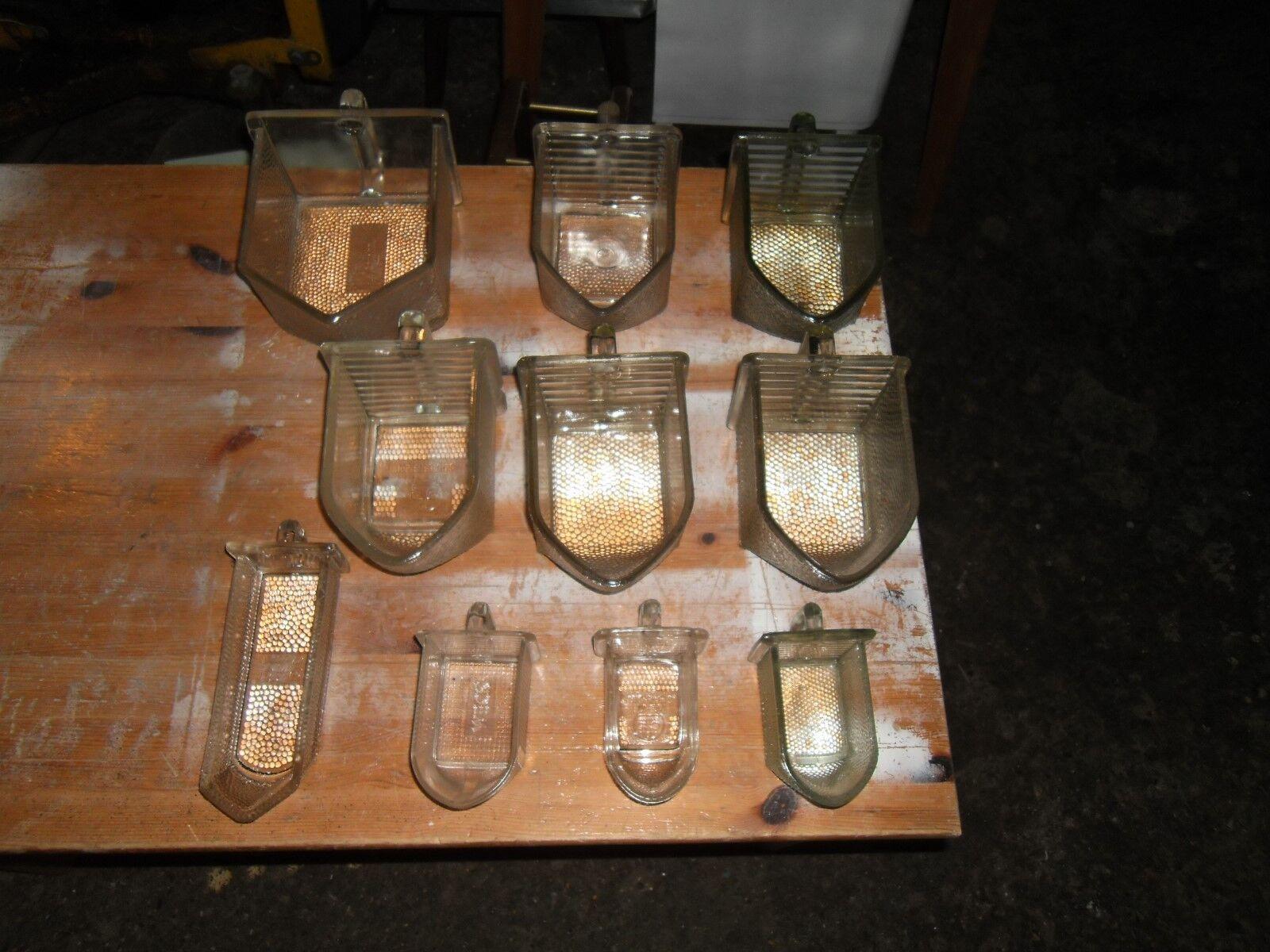 10 Glas Schütten f.Vintage Küchen,40-50 Jahre,gebraucht