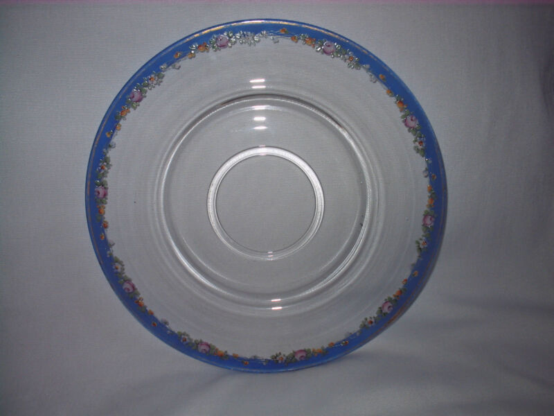 "ANTIQUE 12"" GLASS PLATE PLATTER HANDPAINTED BLUE RIM & TEXTURED FLOWERS NORWAY ?"