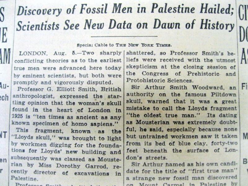 1932 NY Times newspaper Neanderthal GALILEE SKULL discovered in PALESTINE Israel