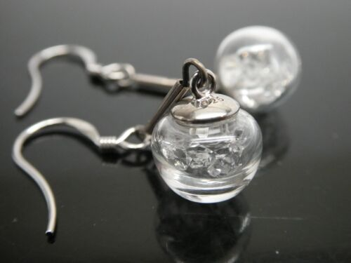 Genuine Herkimer Diamond Clear Quartz In Crystal Ball Sterling Dangle Earrings
