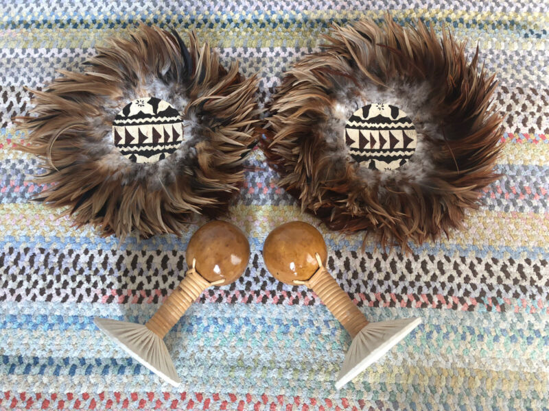 Authentic 'Uli'Uli Hawaiian Hula Dance Feather Gourd Rattles