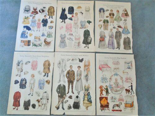Antique LOT 6 Betty Bonnet Cut Out Paper Dolls Sheila Young Uncut -