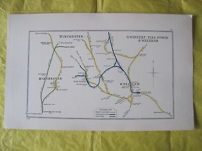 1928 RAILWAY CLEARING HOUSE Junc Diagram No.55 WINCHESTER,WREXHAM,PLAS POWER.